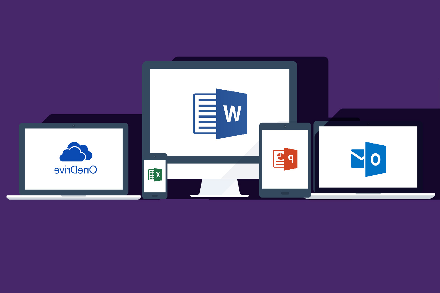 Image of Microsoft Office ProPlus 365 icons on different devices
