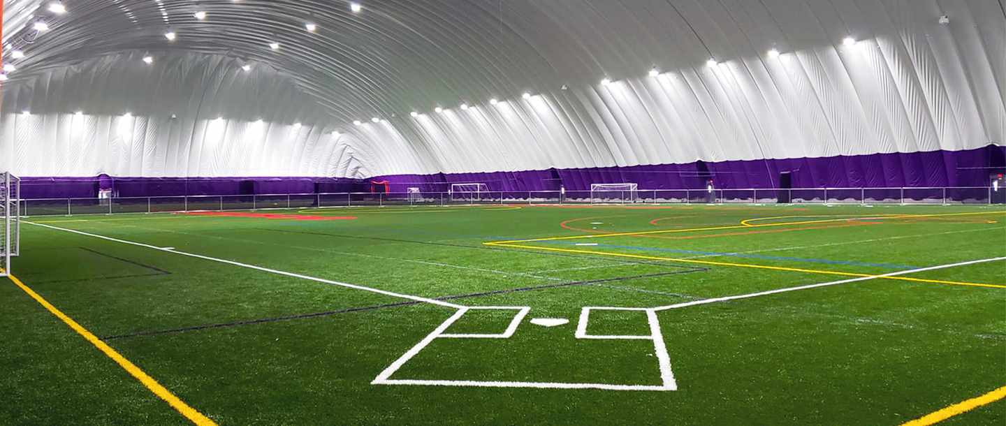 Softball field inside the Maverick All-Sports Dome